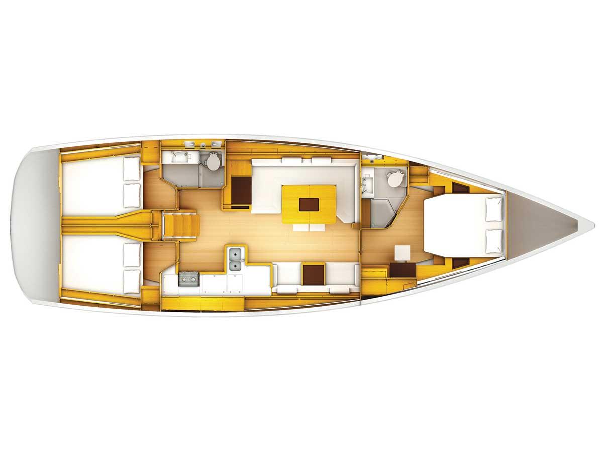 Charter jeanneau sun odyssey 509 3 cabins yacht online for 509 plan