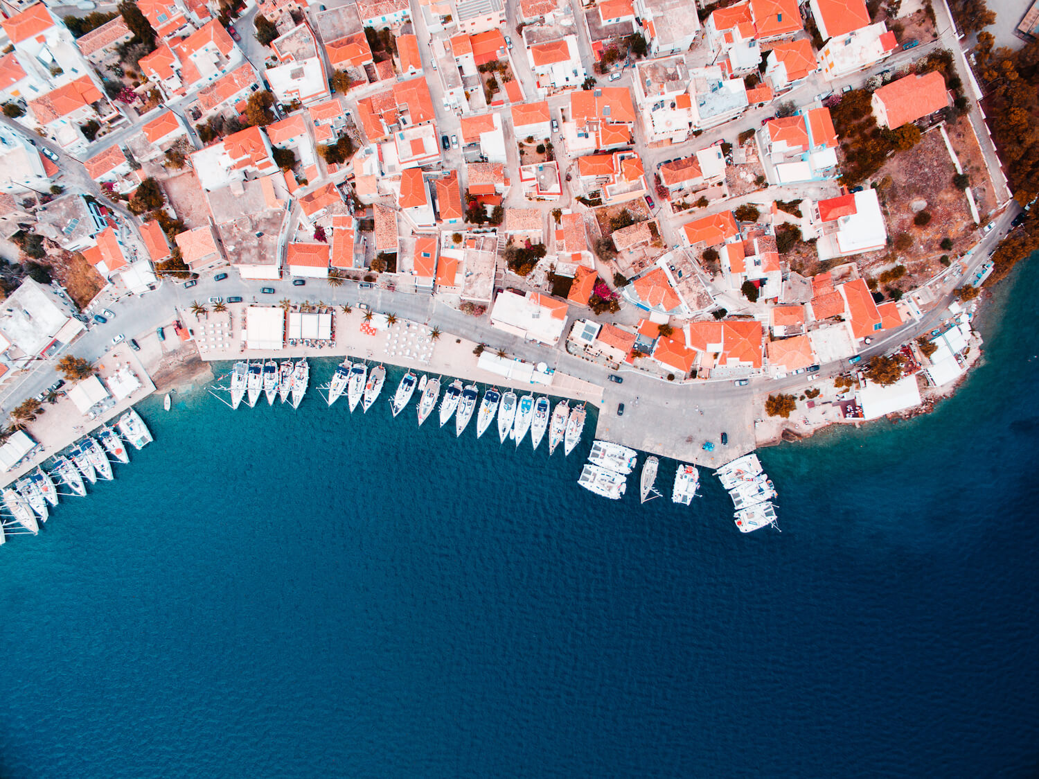 Birds eye view on the city marina with yachts